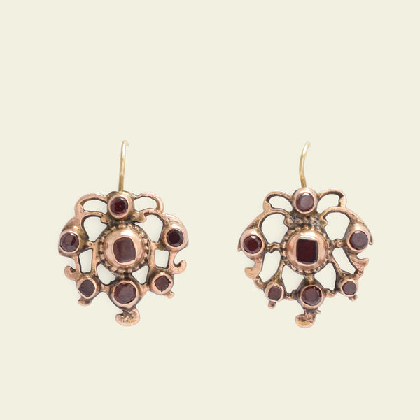 Georgian Gilt Silver Garnet Earrings