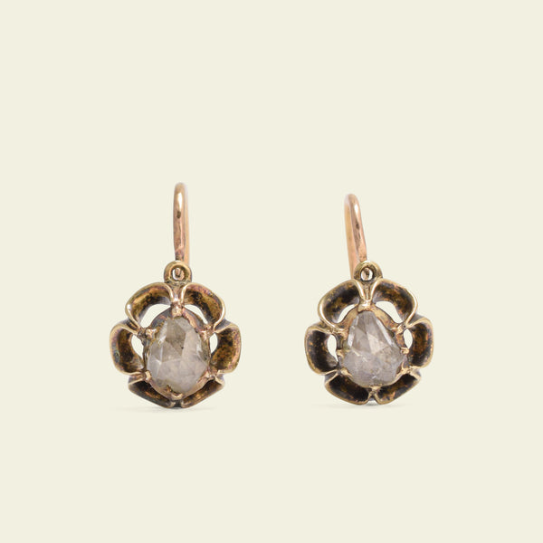 19th Century French Rose Cut Diamond Buttercup Earrings