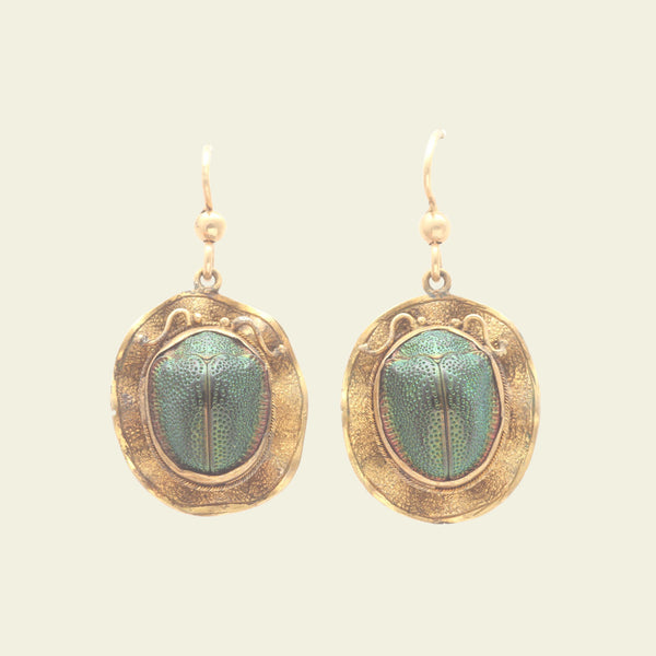 Victorian Scarab Earrings with Scalloped Frames