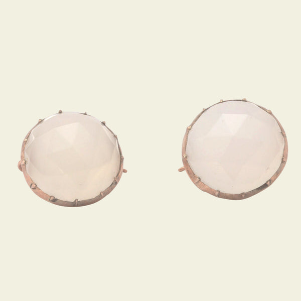 Rose Cut Chalcedony Earrings