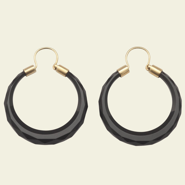 Victorian Faceted French Jet Hoop Earrings