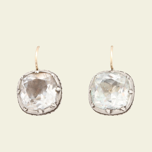 Georgian Cushion Cut Rock Crystal Earrings