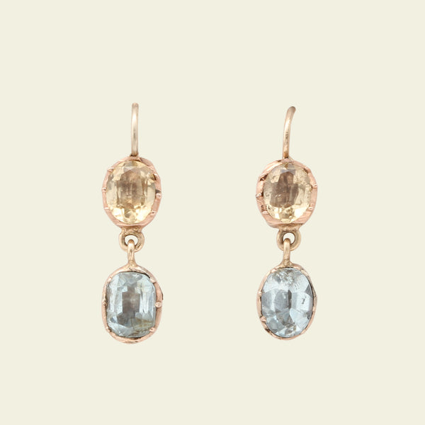 Georgian Blue and Yellow Topaz Drop Earrings