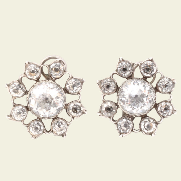 18th Century Rock Crystal Floral Cluster Earrings