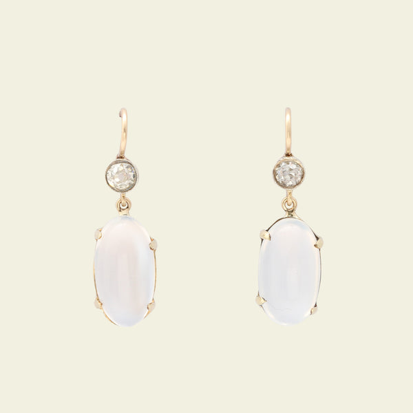 Edwardian Moonstone and Old European Cut Diamond Drop Earrings