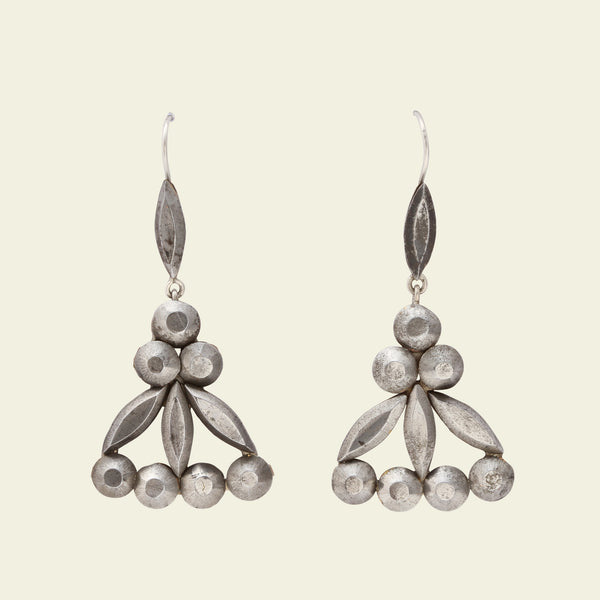 Victorian Floral Cut Steel Drop Earrings