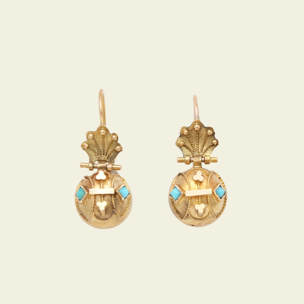 Etruscan Revival Orb Earrings with Turquoise