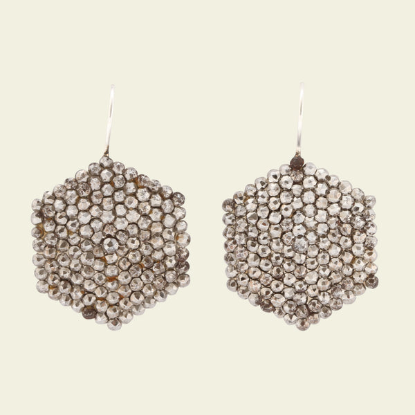 Cut Steel Hexagon Earrings
