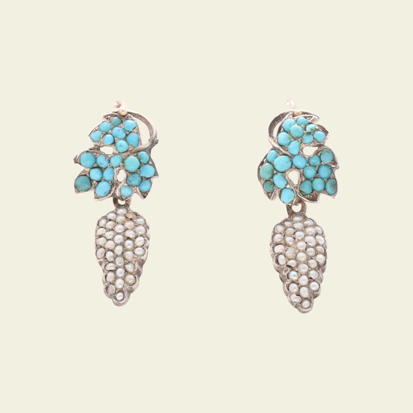 Georgian Turquoise and Pearl Grape Earrings