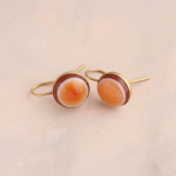 Victorian Sardonyx Button Earrings
