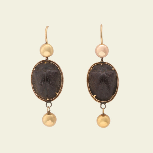 Victorian Scarab Drop Earrings