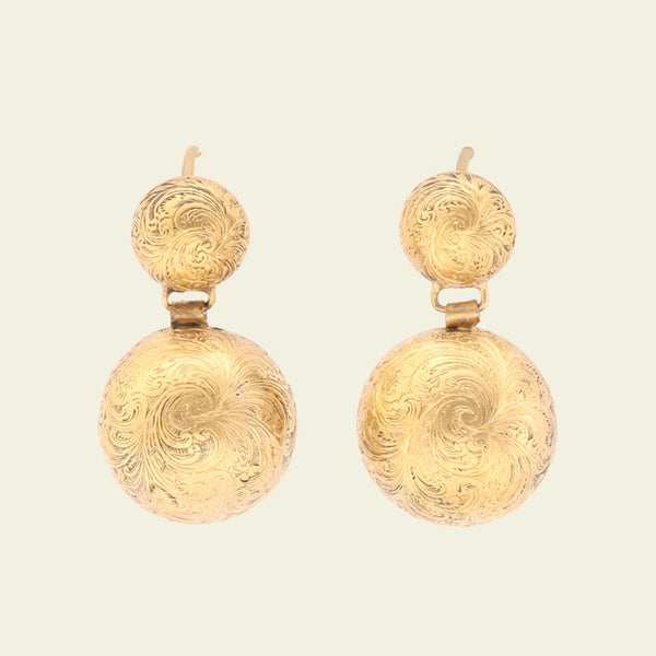 Victorian Chased Dome Drop Earrings