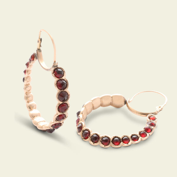 Georgian Garnet Hoop Earrings