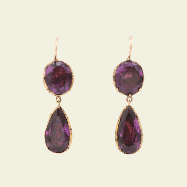 Georgian Amethyst Paste Drop Earrings