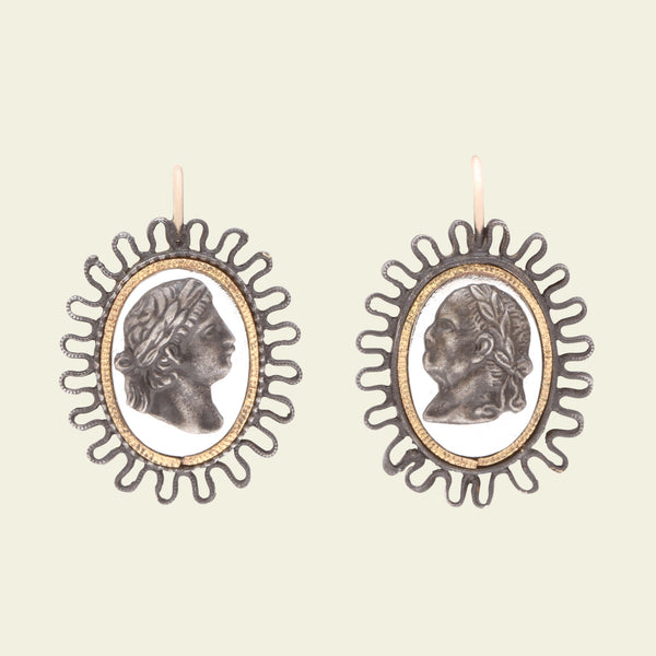 Berlin Iron Neoclassical Cameo Earrings