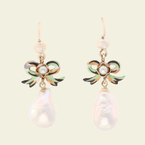 Victorian Enameled Bow and Baroque Pearl Earrings
