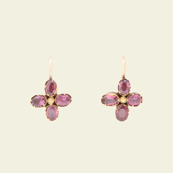 Georgian Quatrefoil Garnet Earrings