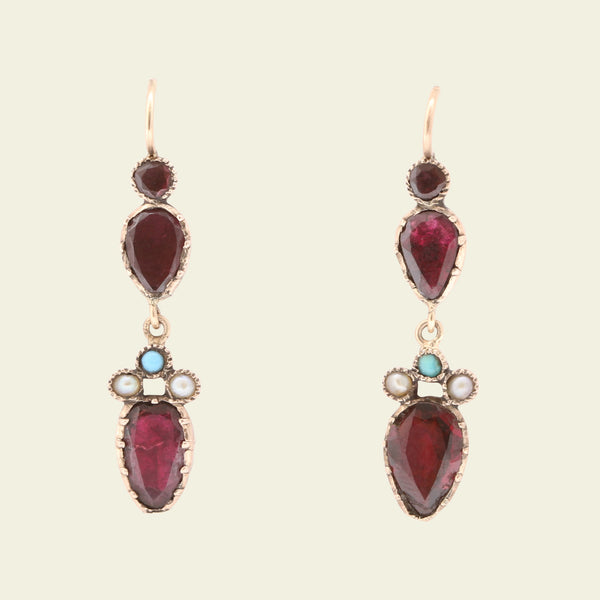 Georgian Garnet, Seed Pearl and Turquoise Drop Earrings