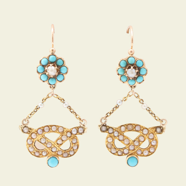 Victorian Turquoise and Pearl Love Knot Earrings