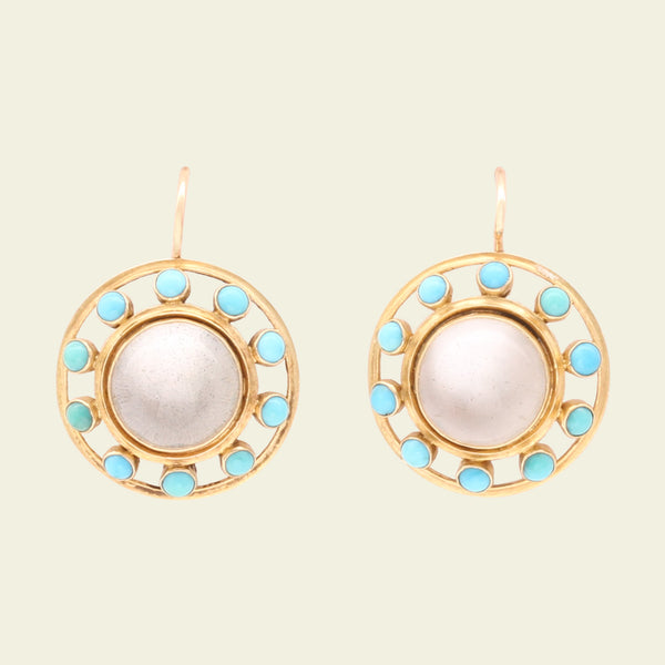 Early 20th Century Moonstone with Turquoise Halo Earrings