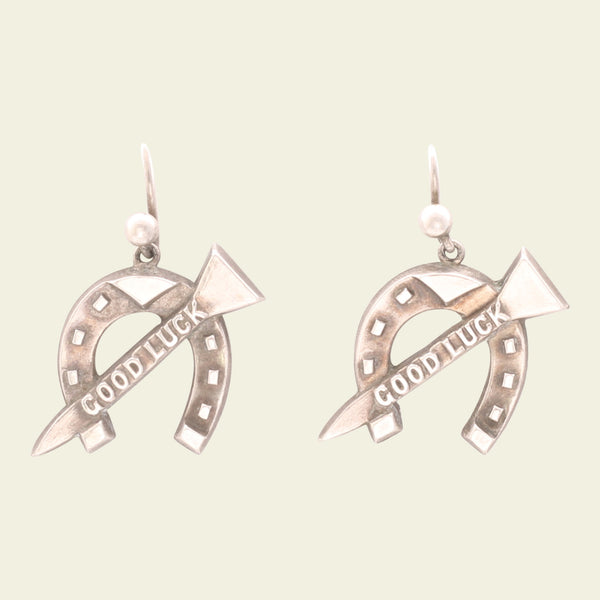 "Victorian Silver Horseshoe and Nail ""Good Luck"" Earrings"