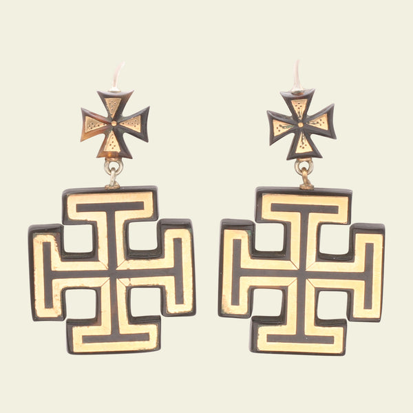 Victorian Pique Maltese and Jerusalem Cross Earrings