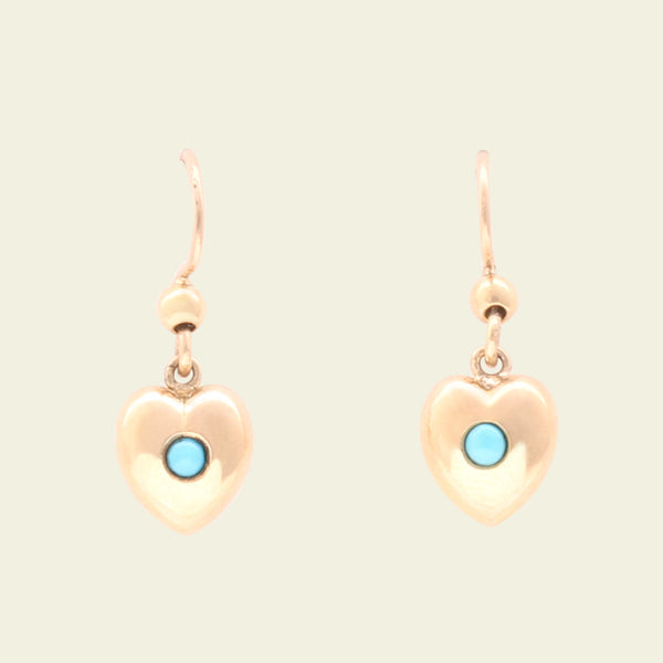Edwardian Rose Gold and Turquoise Puffy Heart Earrings