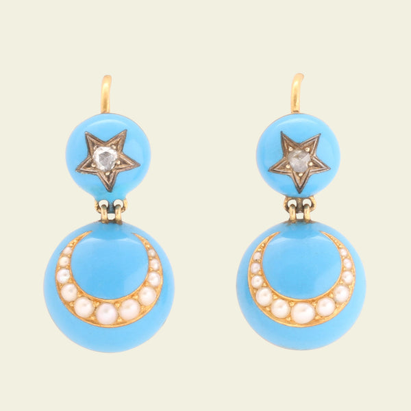 Victorian Blue Enamel Diamond Star and Pearl Crescent Earrings