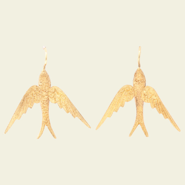 Gold Swallow Earrings