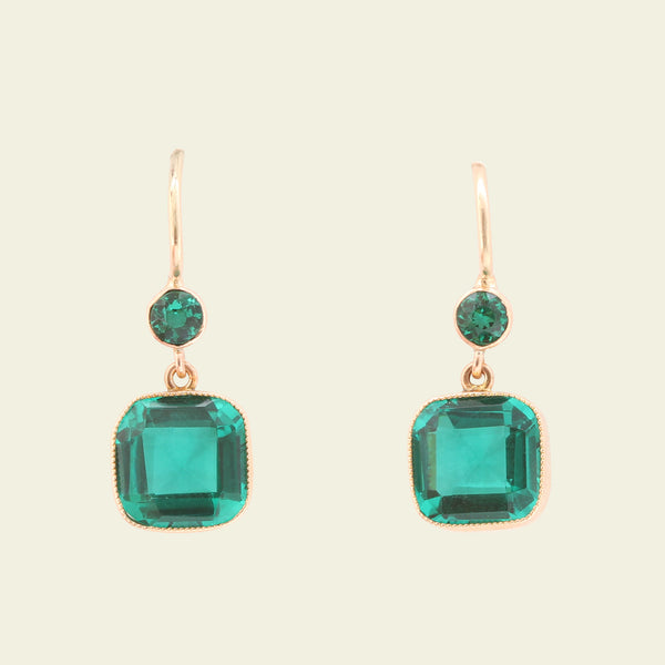 Victorian Green Paste Drop Earrings