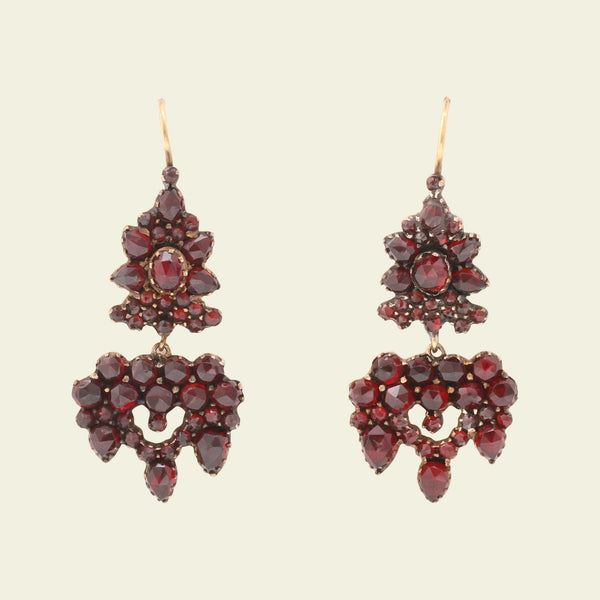 Victorian Bohemian Garnet Cluster Drop Earrings