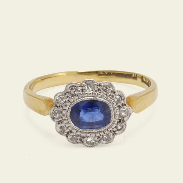 Edwardian Oval Diamond and Sapphire Cluster Ring