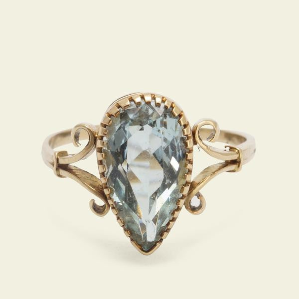 Edwardian Pear Shaped Aquamarine Ring - 2nd payment - original $1490 - $1266.50