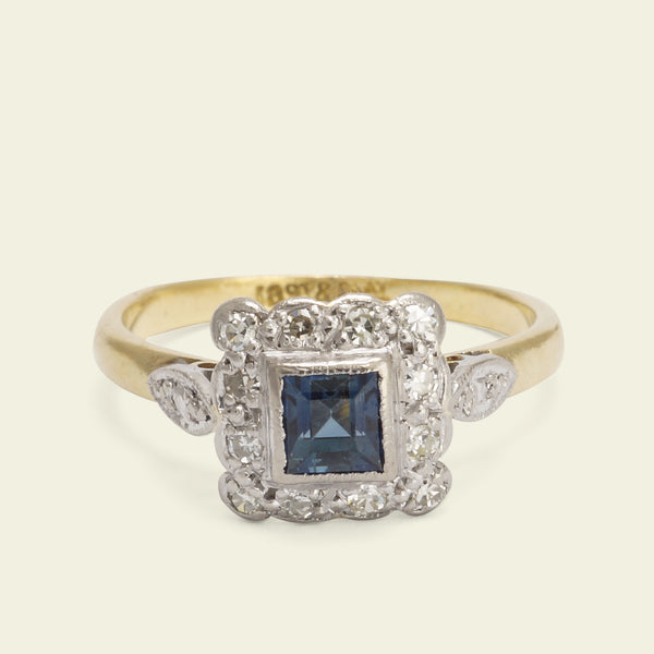 Deco Sapphire and Diamond Cluster with Petal Shoulders