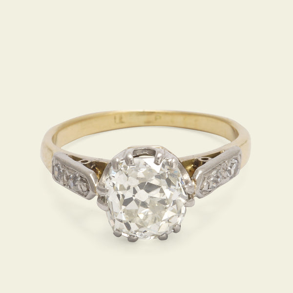1.35ct Old Mine Cushion Cut Diamond Engagement Ring