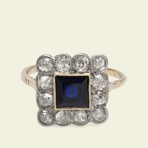 Early 20th Century Square Old Mine Cut Diamond and Sapphire Cluster Ring