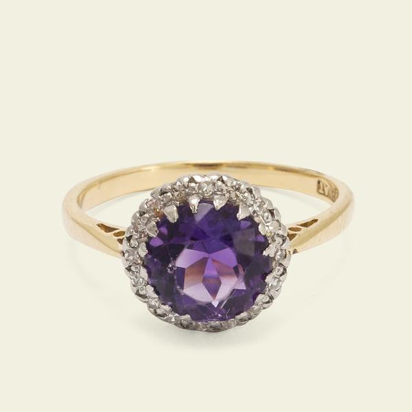 Amethyst and Diamond Cluster Ring - $300