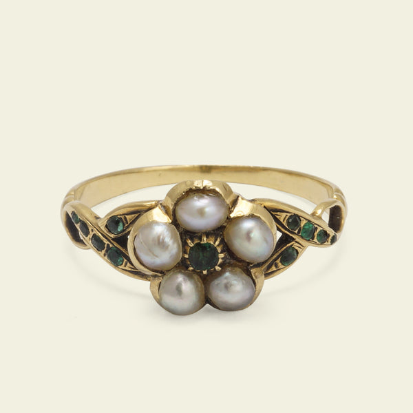 Mid Victorian Pearl and Emerald Forget-Me-Not Ring