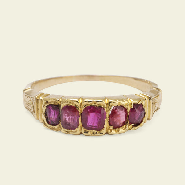 Victorian Ruby Five-Stone Ring