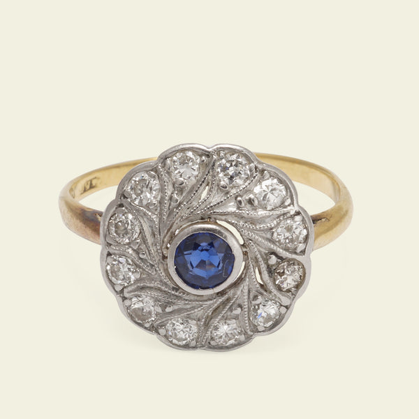 Edwardian Floral Spiral Sapphire and Diamond Ring
