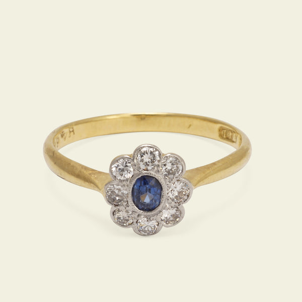 Early 20th Century Oval Sapphire and Diamond Ring