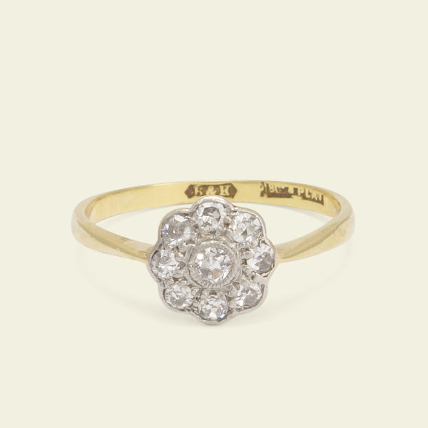 Edwardian Eight Petal Diamond Daisy Ring