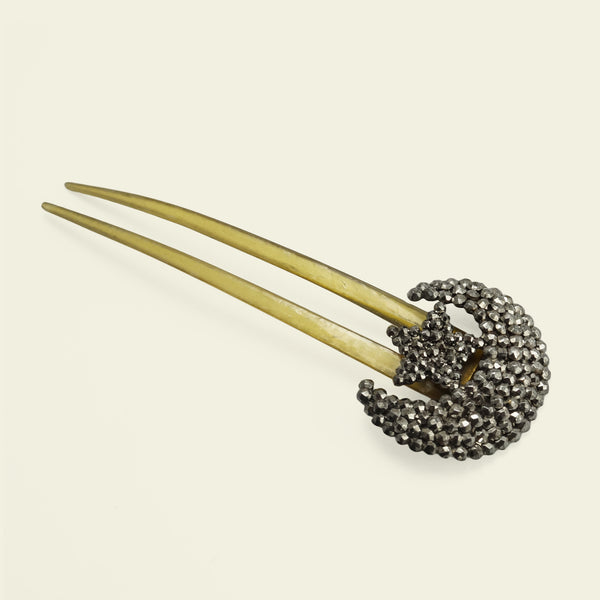 Cut Steel Moon and Star Hair Comb