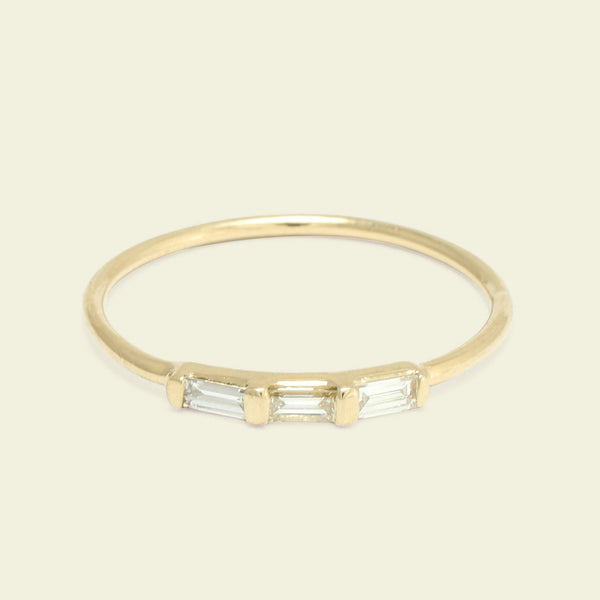 Past/Present/Future Diamond Baguette Ring (Yellow Gold)