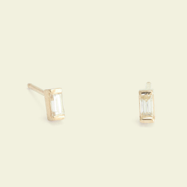 Diamond Baguette Studs (Yellow Gold)