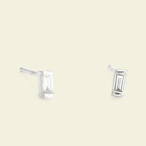 Diamond Baguette Studs (White Gold)