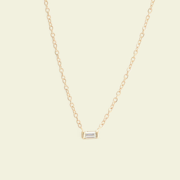 Diamond Baguette Necklace (Yellow Gold)