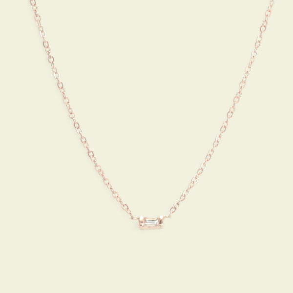 Diamond Baguette Necklace (Rose Gold)