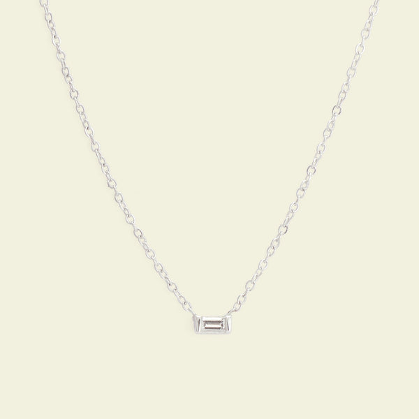 Diamond Baguette Necklace (White Gold)