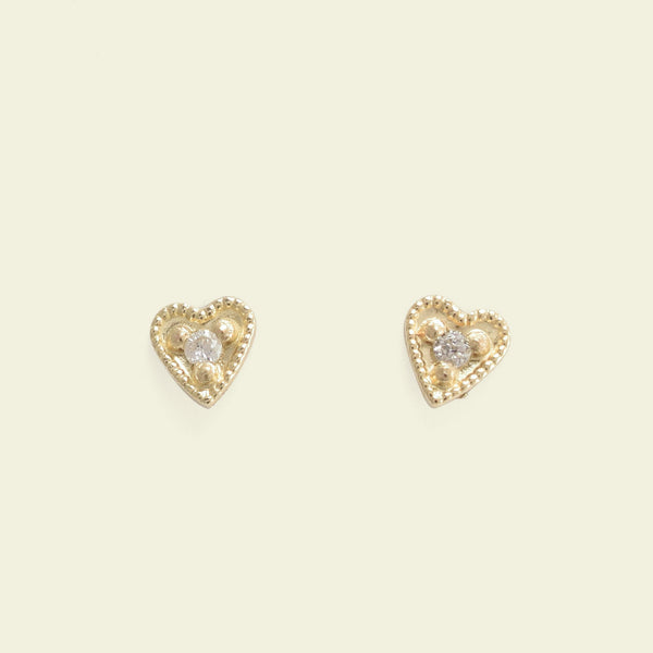 Tiniest Diamond Heart Studs